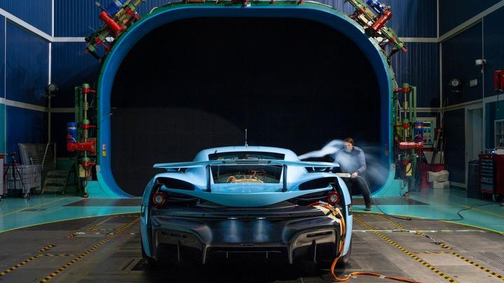 Rimac C_Two test w tunelu aerodynamicznym